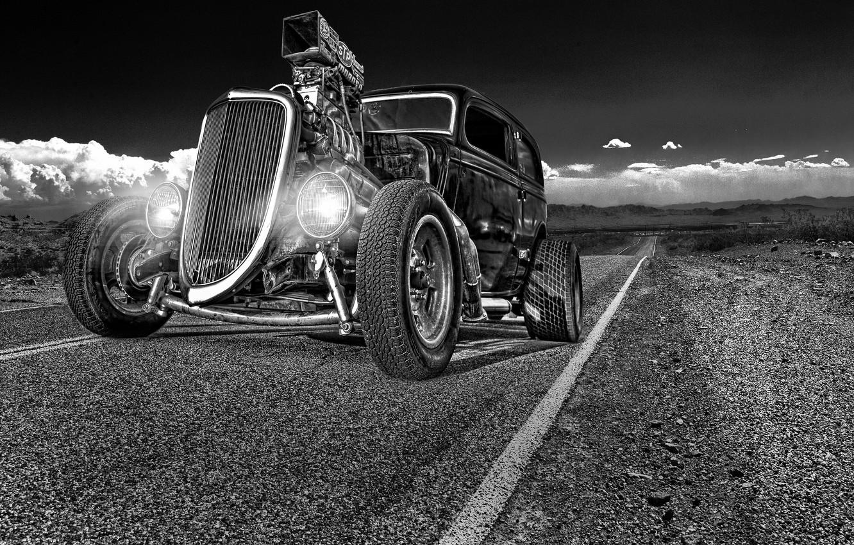 Photo wallpaper road, retro, lights, classic, the front, hot-rod, classic car