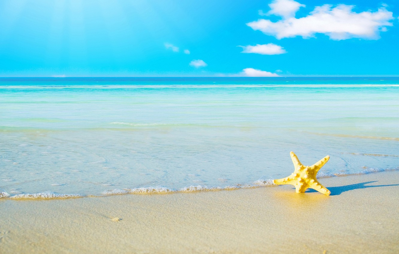 Photo wallpaper SEA, HORIZON, The OCEAN, The SKY, SAND, SEA, STAR, CLOUDS, SHORE