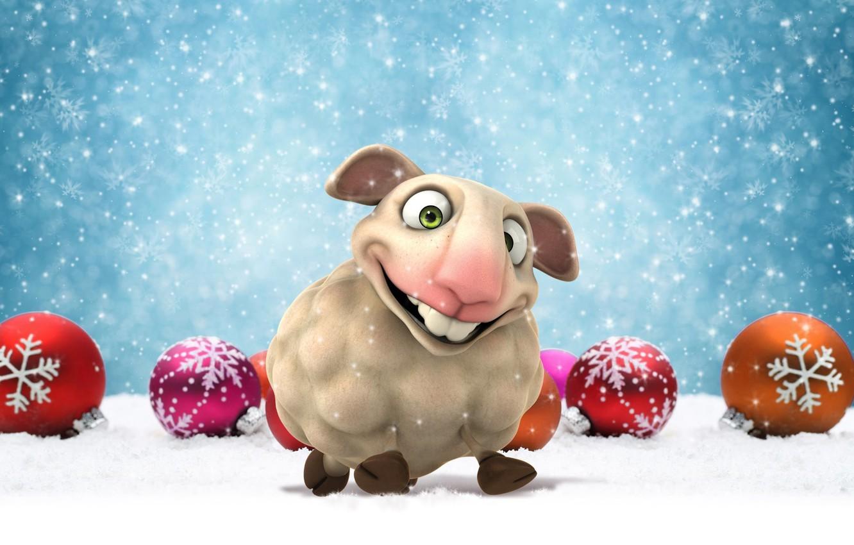 Photo wallpaper balls, snow, animal, holiday, balls, toys, graphics, new year, symbol, sheep