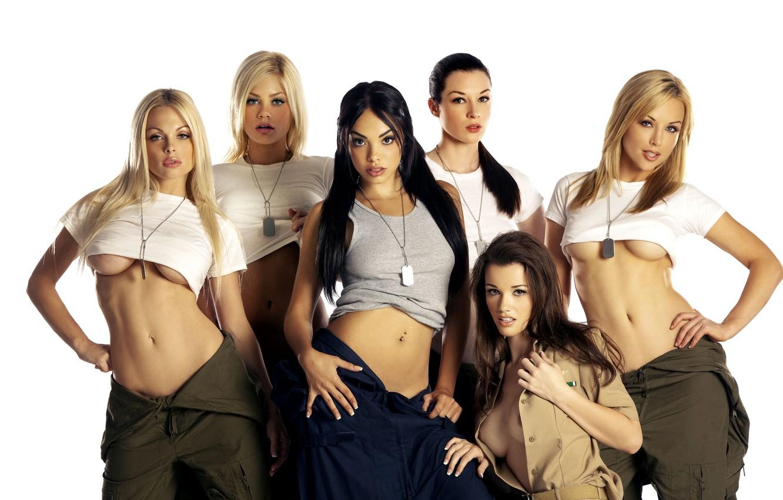 Photo wallpaper girls, t-shirt, top, blonde, beauty, brunette, overalls