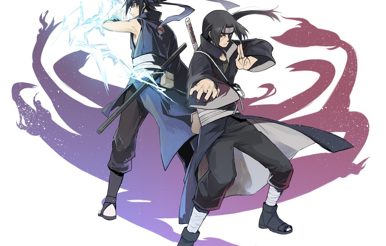 Photo wallpaper naruto, art, brothers, Itachi Uchiha, Uchiha, Sasuke Uchiha