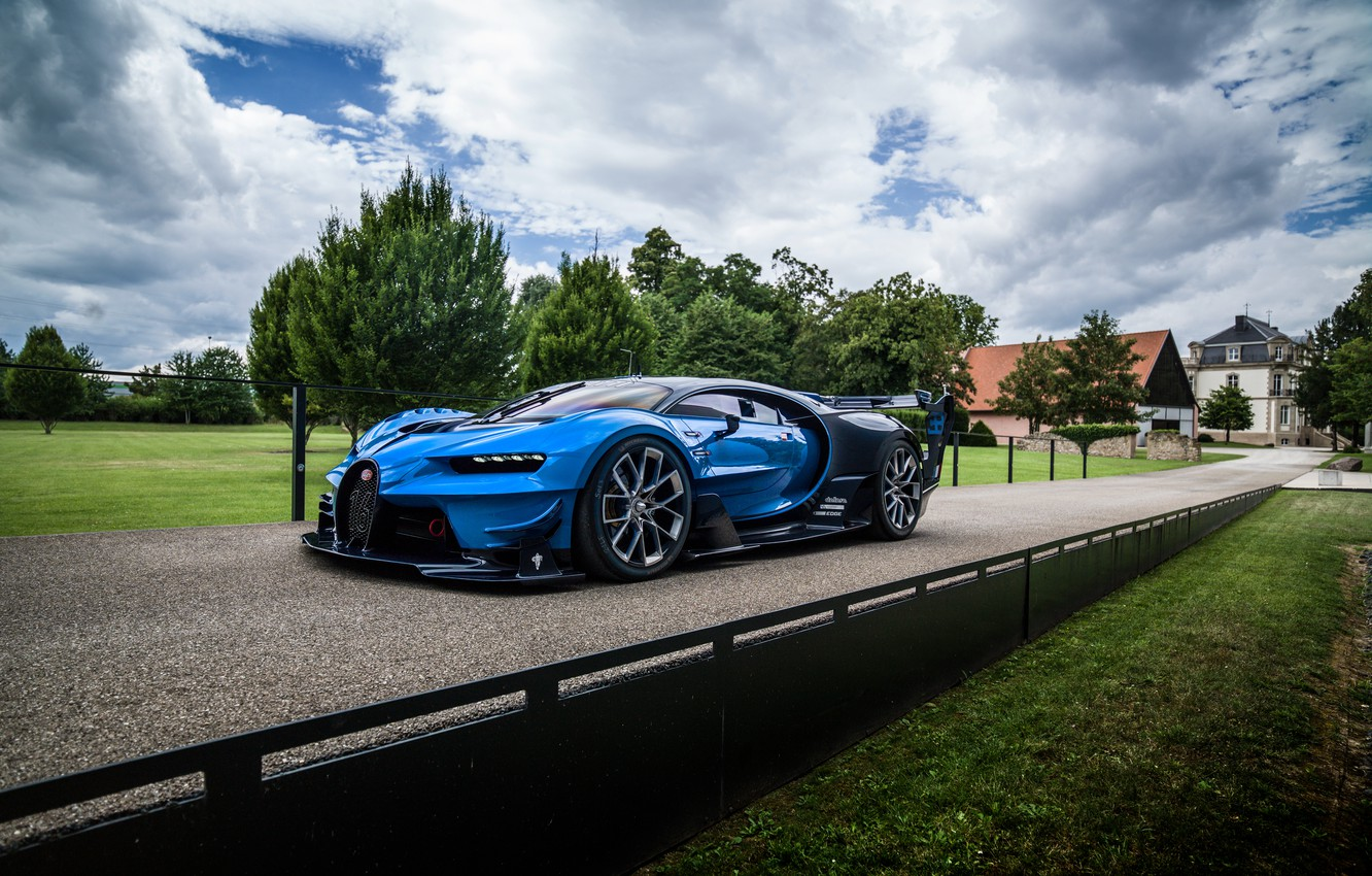 Photo wallpaper machine, the sky, trees, view, Bugatti, Vision, Bugatti, hypercar, Gran Turismo, aggressive
