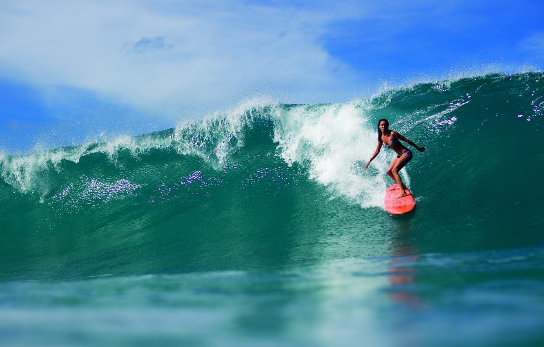 Photo wallpaper girl, the ocean, sport, wave, surfing, Board, surfing