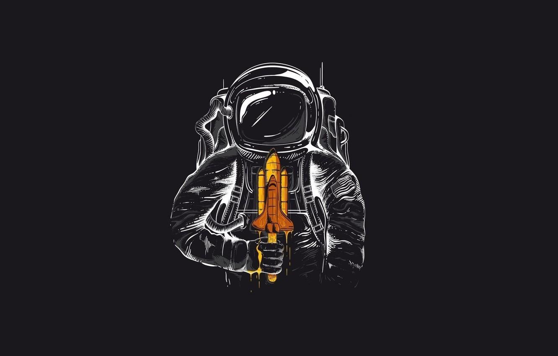 Photo wallpaper Minimalism, The suit, Humor, Astronaut, Art, Shuttle
