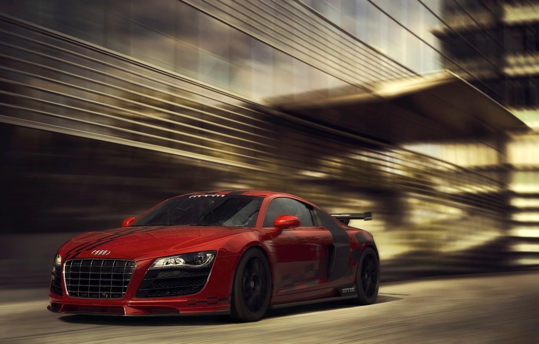 Photo wallpaper Audi, red, front, kit, MTM, bodykit
