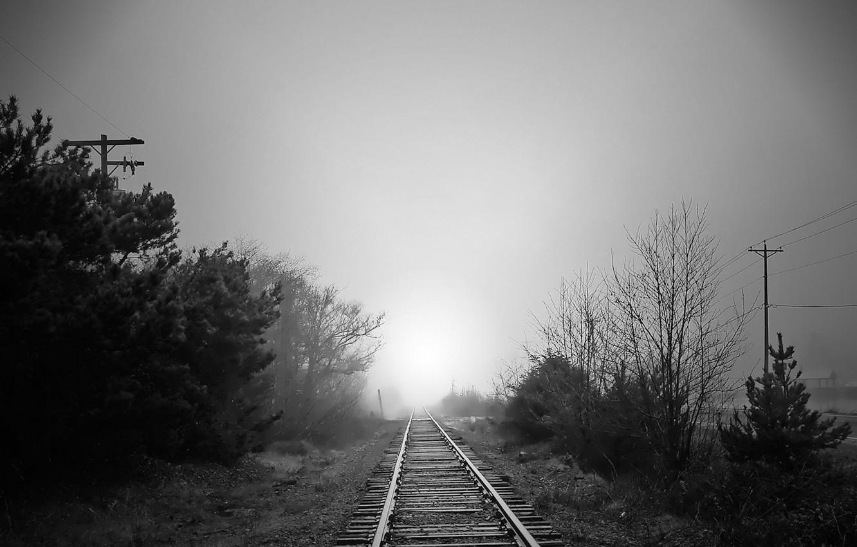 Photo wallpaper road, fog, Black and white, iron, 157