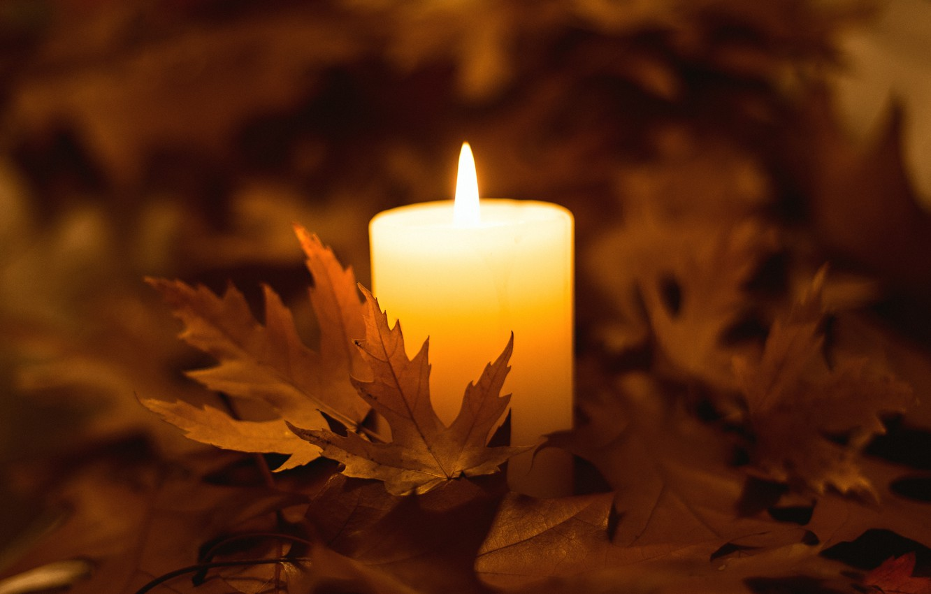 autumn candles leaves HD wallpaper |Fall Candles Background