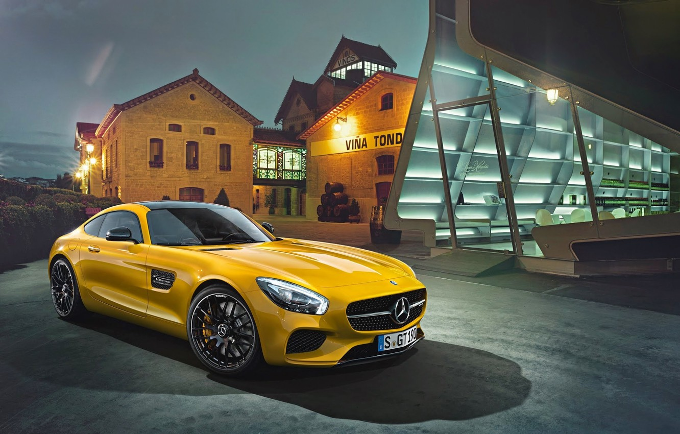 Photo wallpaper Mercedes-Benz, House, Front, AMG, Yellow, Supercar, 2015