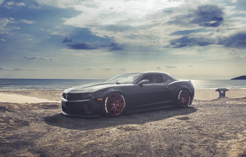 Photo wallpaper Chevrolet, Camaro, Red, Black, Wheels