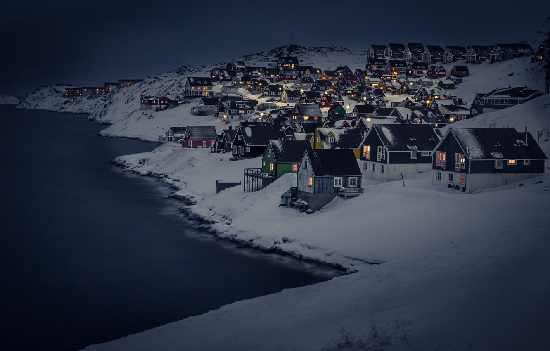 Photo wallpaper dark, landscape, night, winter, snow, houses, cold, cityscape, capital, Nuuk, Myggedalen, capital region, greenland