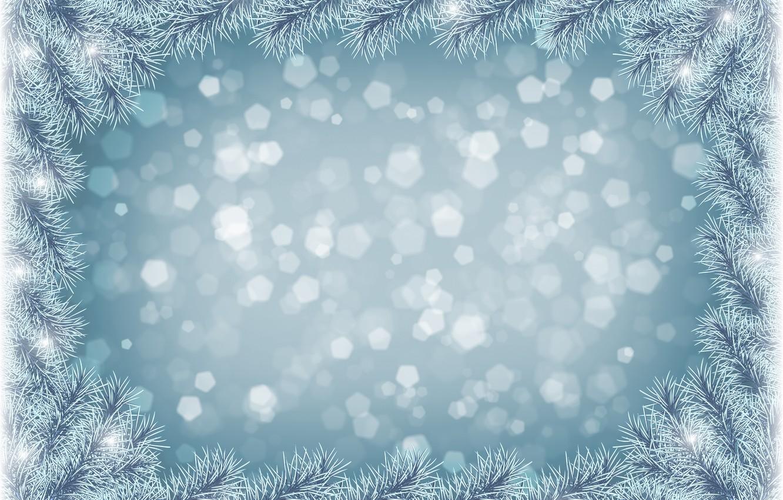 Photo wallpaper snow, needles, frame, tree