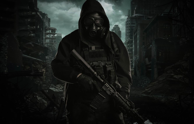 Photo wallpaper the city, weapons, jacket, hood, destruction, gas mask, male, assault rifle
