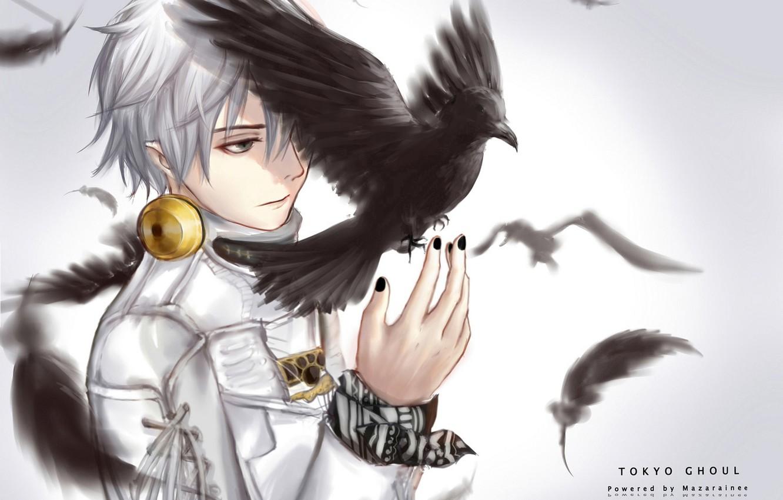 wallpaper birds anime feathers headphones art guy crow tokyo