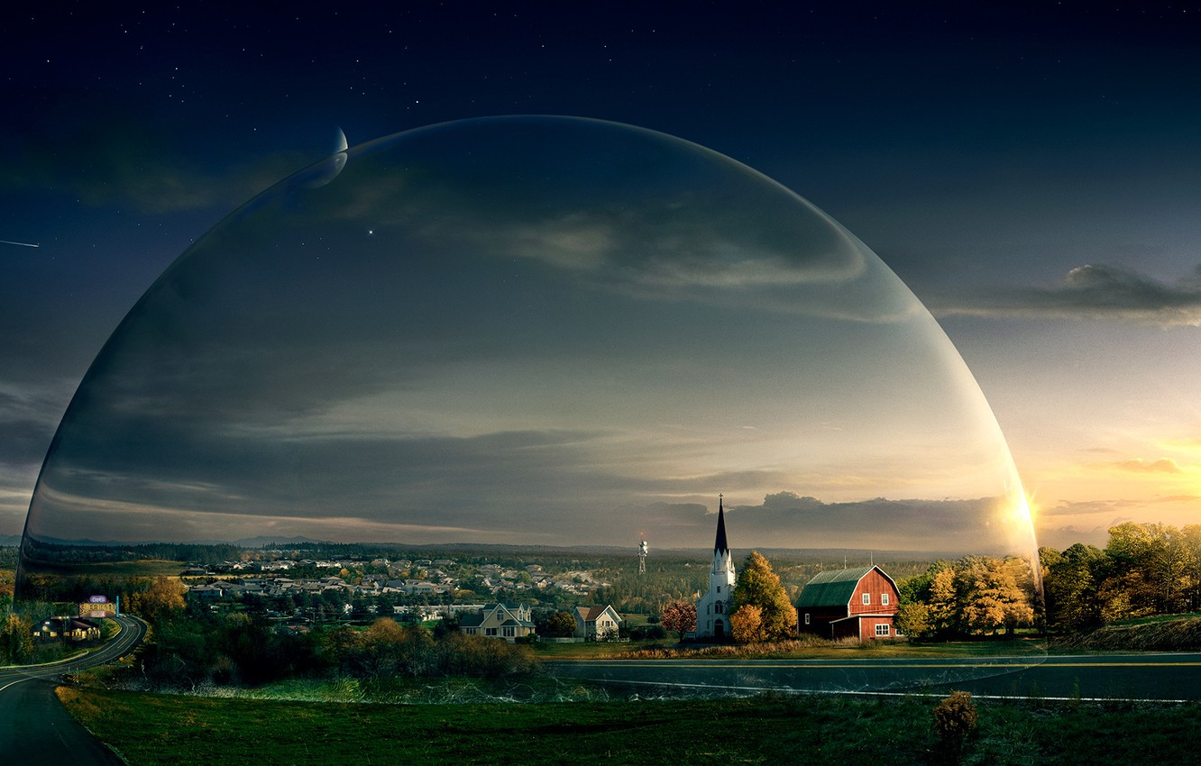 Photo wallpaper road, the sky, Church, the series, the dome, under the dome, under the dome