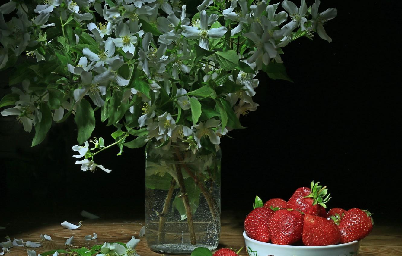 Photo wallpaper plant, strawberry, berry, Jasmine
