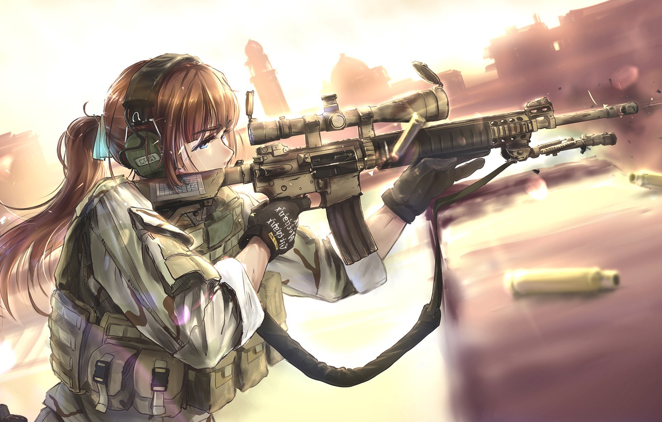 Photo wallpaper girl, weapons, anime, headphones, art, soldiers, bullets, tc1995