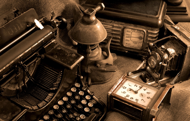 Photo wallpaper camera, dust, antique, radio, typewriter