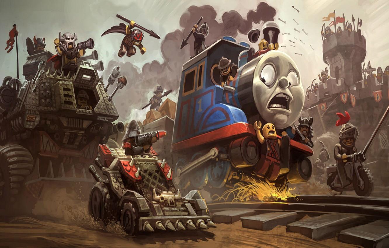 Photo wallpaper weapons, castle, train, motorcycle, railroad, LEGO, car,