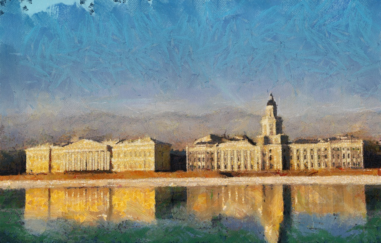 Photo wallpaper reflection, building, Peter, promenade, Neva