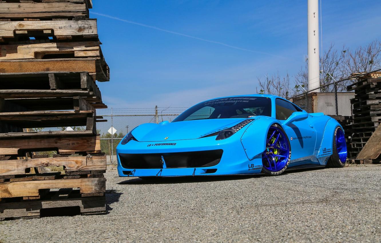 Photo wallpaper Ferrari, 458, Blue, Italia, Edition, Liberty, Walk