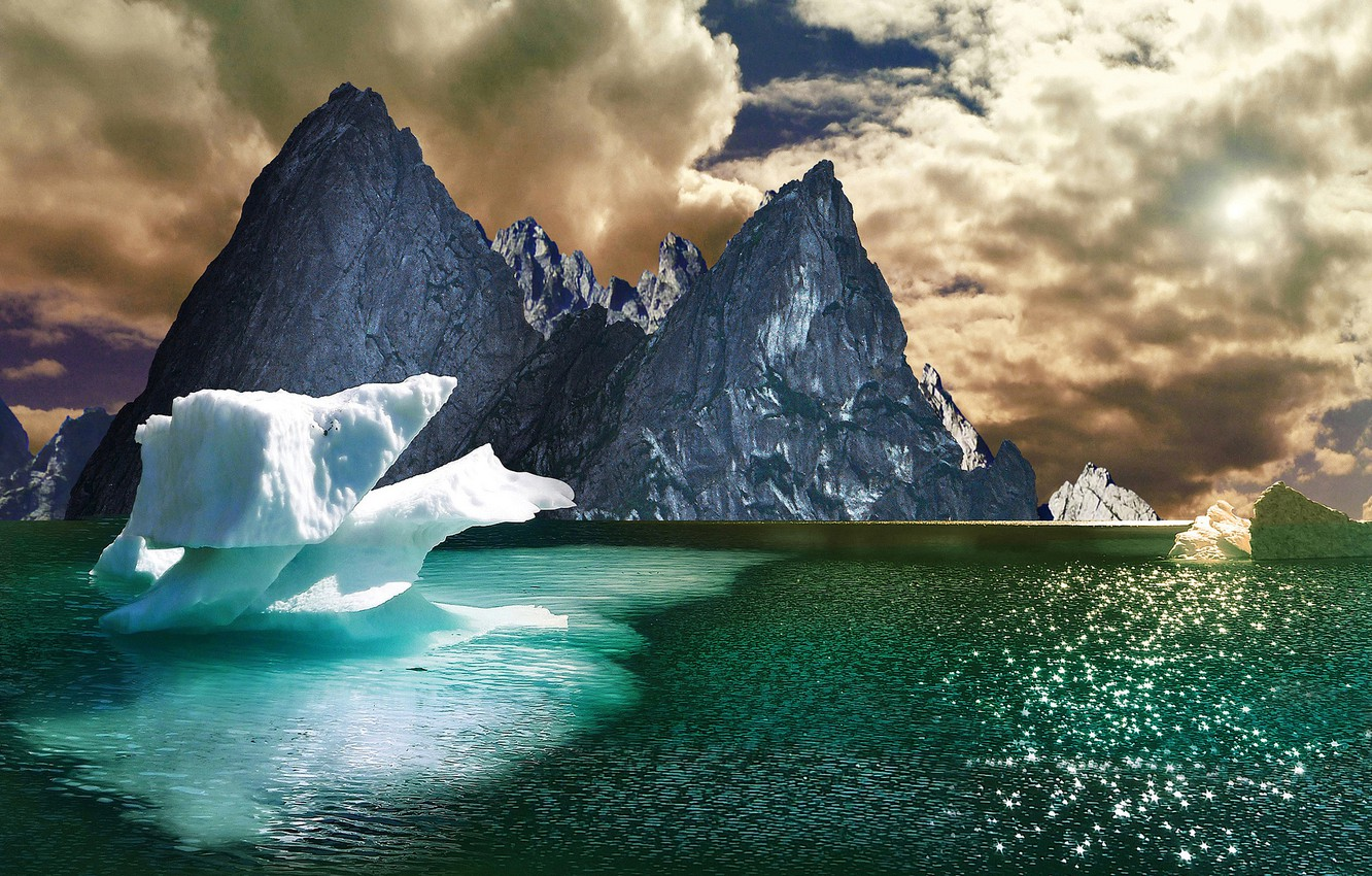 Photo wallpaper ice, the sky, clouds, mountains, lake