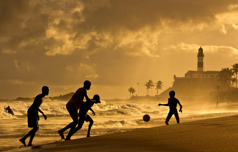 Wallpaper Waves Beach Sunset Soccer Brazil Salvador