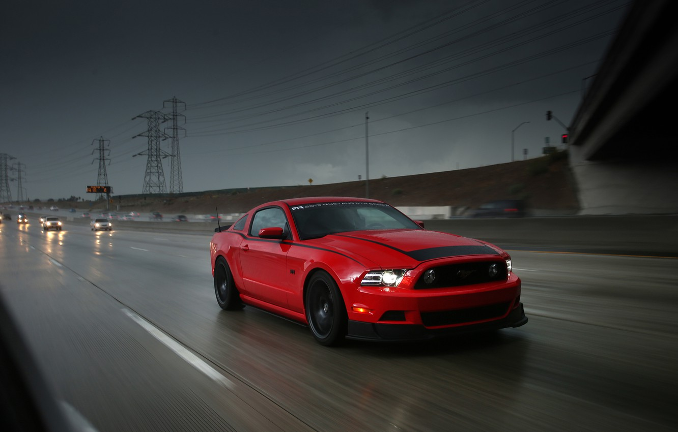 Photo wallpaper road, machine, red, movement, rain, speed, track, mustang, Mustang, sports car, sportcar, ford, Ford, rtr