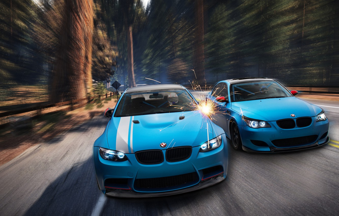 Photo wallpaper forest, BMW, sparks, blue, front, E92, E60, Aksyonov Nikita Andreevich