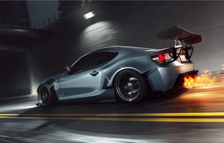 Photo wallpaper Car, Fire, Speed, Sport, FR-S, Scion, Rear, Burn