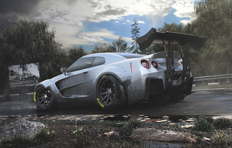 Photo wallpaper Nissan, GT-R, Car, Race, Body, R35, Track, Spoiler, Rear, Kit