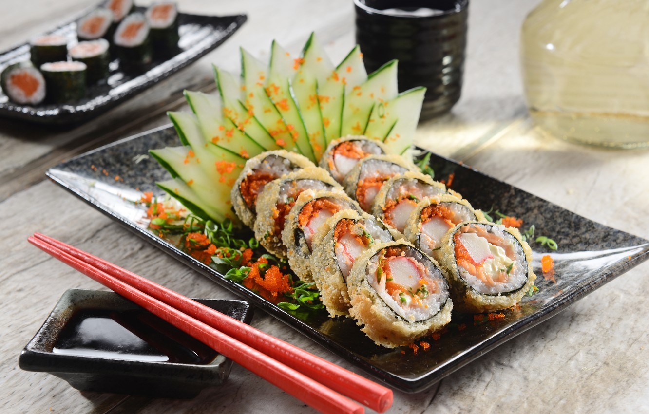 Photo wallpaper greens, vegetables, rolls, sushi, sushi, rolls, Japanese cuisine, greenery, decoration, design, vegetables, Japanese cuisine