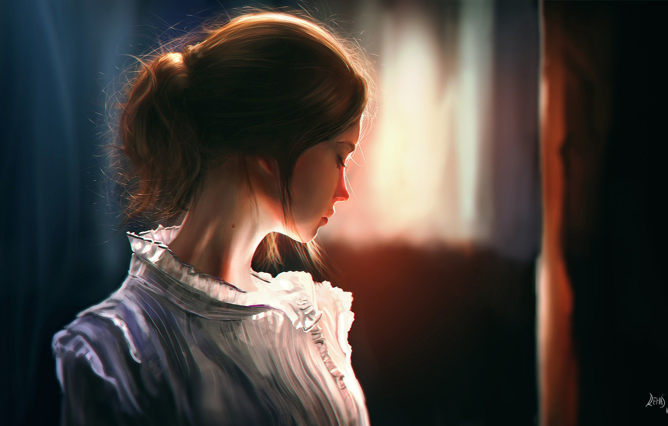 Photo wallpaper girl, light, room, hair, art, profile