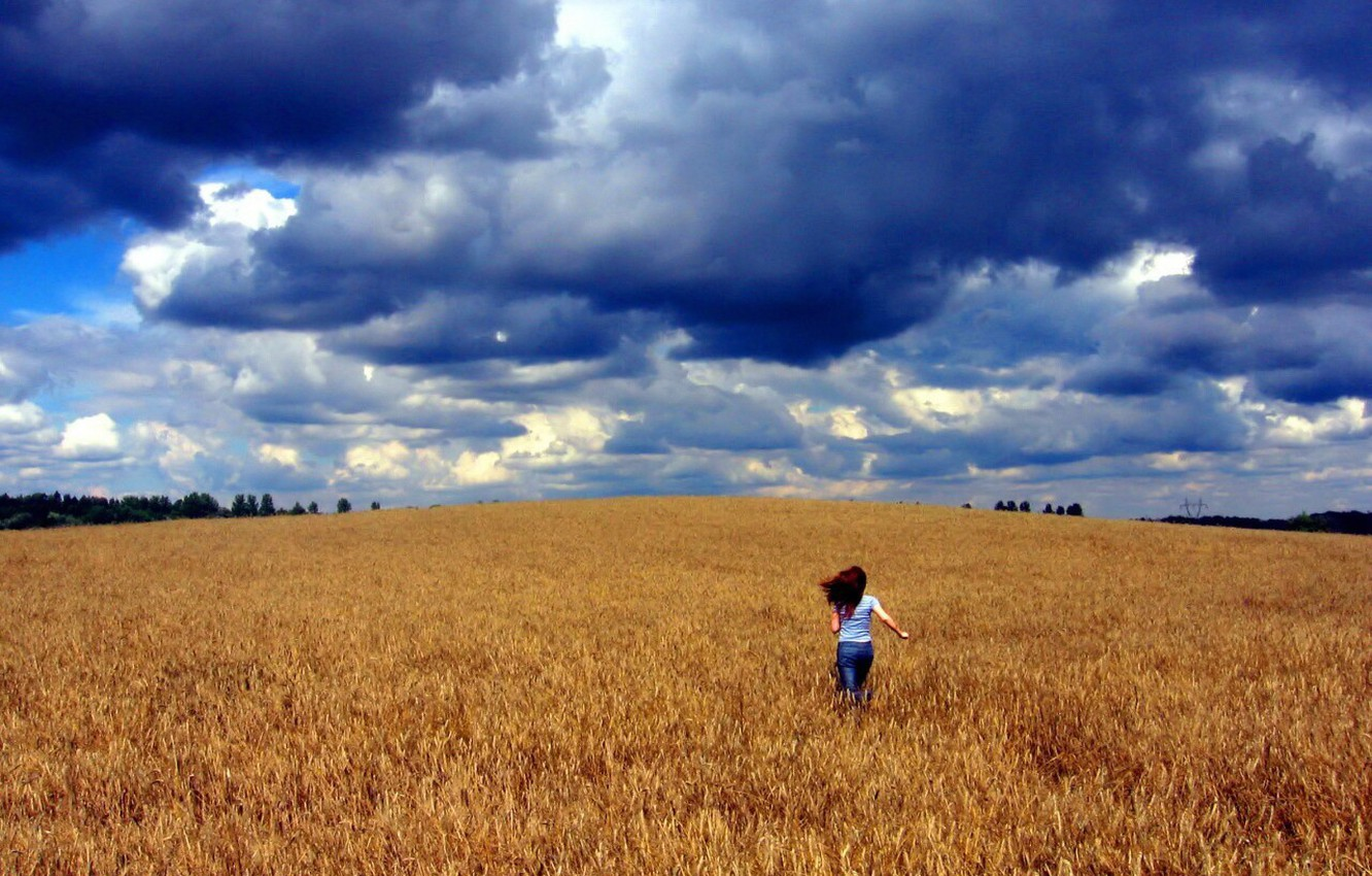 Photo wallpaper field, anger, clouds, Girl