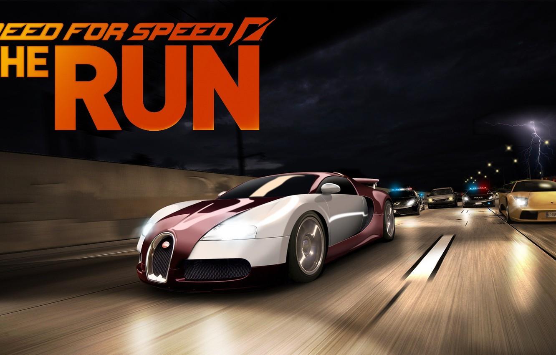 Photo wallpaper race, chase, art, Bugatti Veyron, cops, Need for Speed The Run, lamborghini murcielago