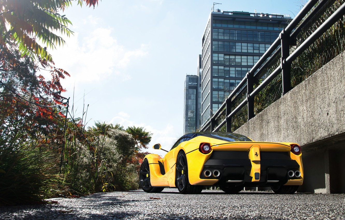 Photo wallpaper the building, supercar, ferrari, laferrari
