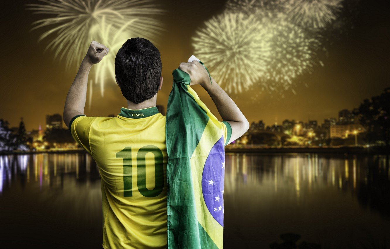 Обои flag, fireworks, football, Brasil. Спорт foto 9