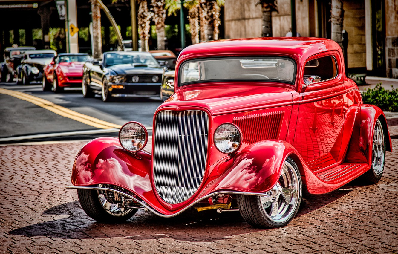 Photo wallpaper red, retro, Ford, classic, 1934 Ford Coupe