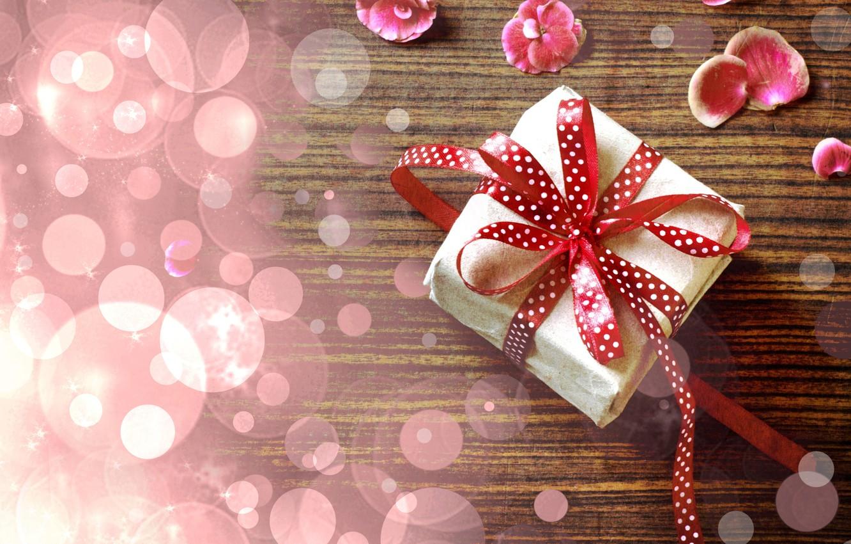 Photo wallpaper flowers, table, gift, petals, tape, pink, vintage, bokeh