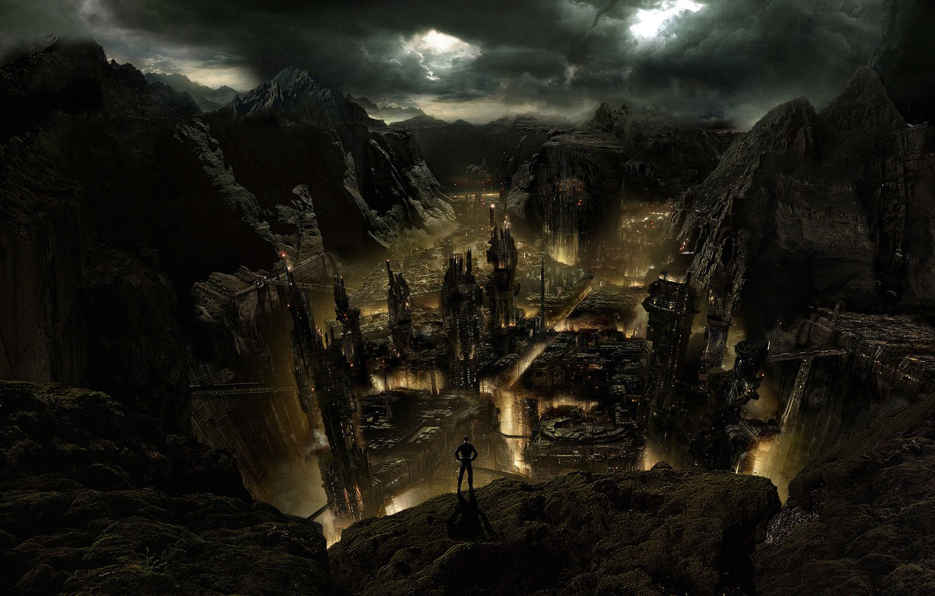 Photo wallpaper the city, fire, Apocalypse, abyss, ruins