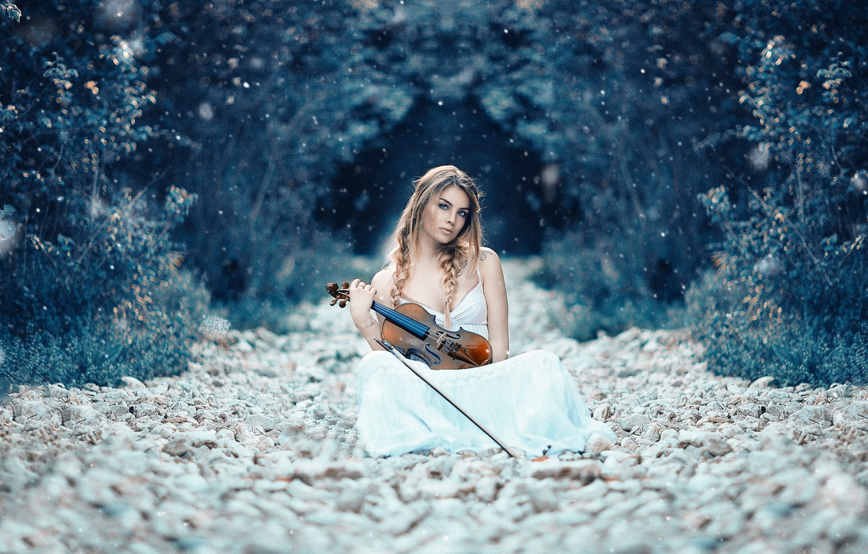 Photo wallpaper girl, violin, Alessandro Di Cicco, Symphony of life