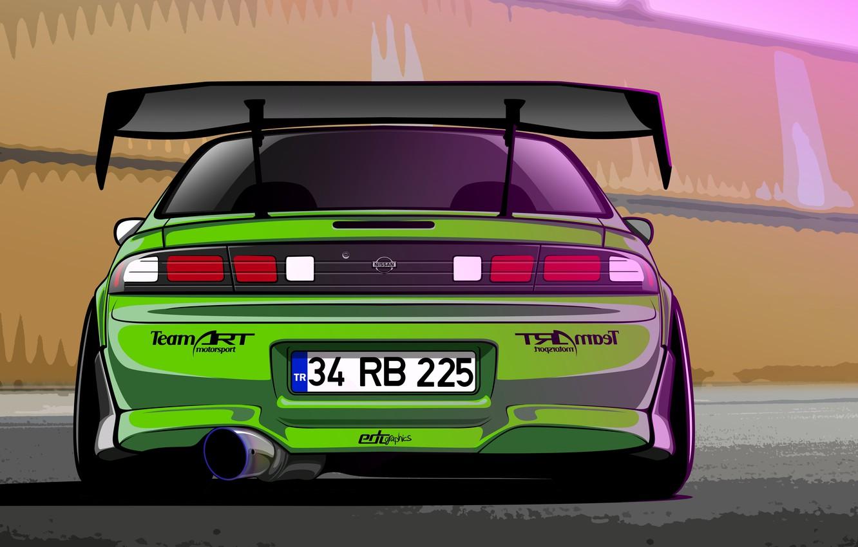 Photo wallpaper Silvia, Nissan, Green, S14, Drift Spec Vector, by Edcgraphic, 200SX