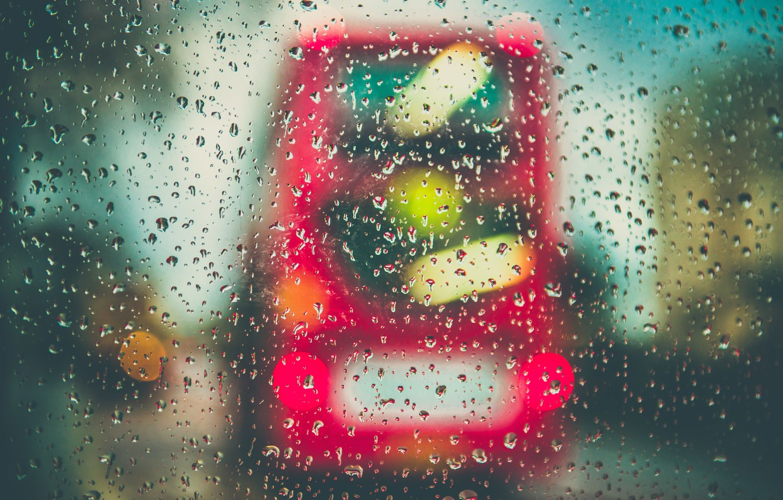 Photo wallpaper glass, drops, rain, bus