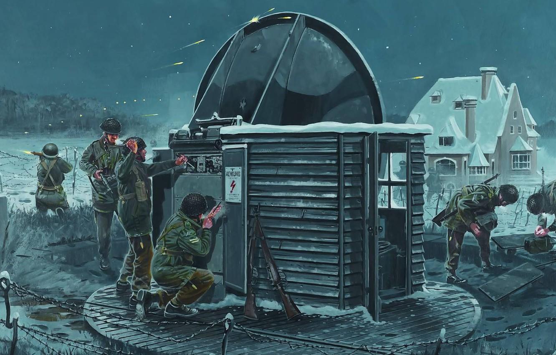 Photo wallpaper war, figure, the British, shootout, mission, radar, saboteurs, sabotage