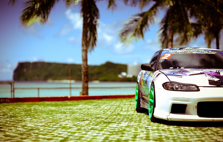 Photo wallpaper sea, the sun, palm trees, tuning, white, S15, Silvia, Nissan, white, Nissan, tuning, Sylvia