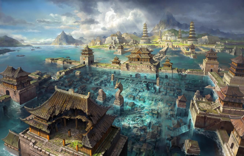 Photo wallpaper sea, water, mountains, the city, Asia, art, the flood, flooding