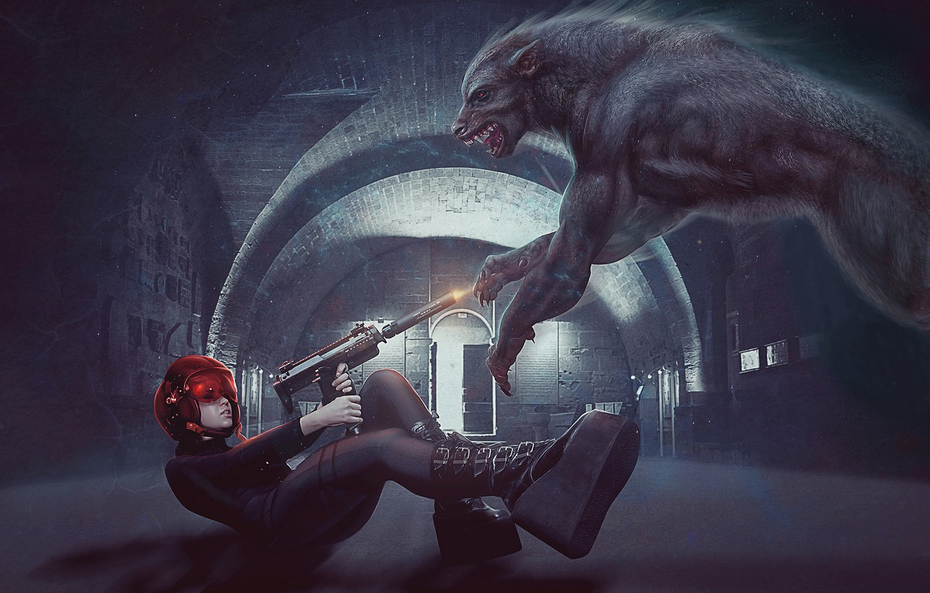 Photo wallpaper weapons, wolf, Girl, shots, photo manipulation, red hat