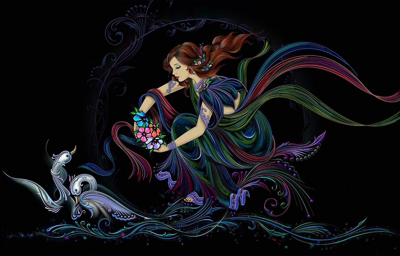 Photo wallpaper wave, girl, flowers, the wind, Swan, creativity
