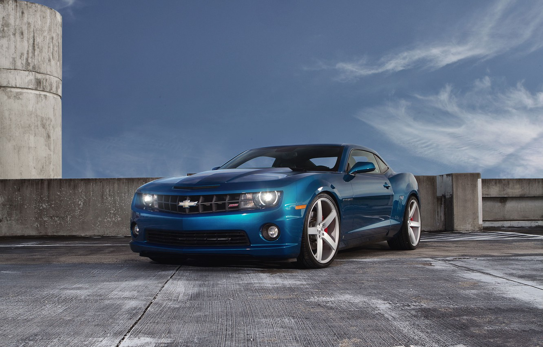 Photo wallpaper the sky, clouds, blue, Chevrolet, Parking, Camaro, Chevrolet, blue, Camaro