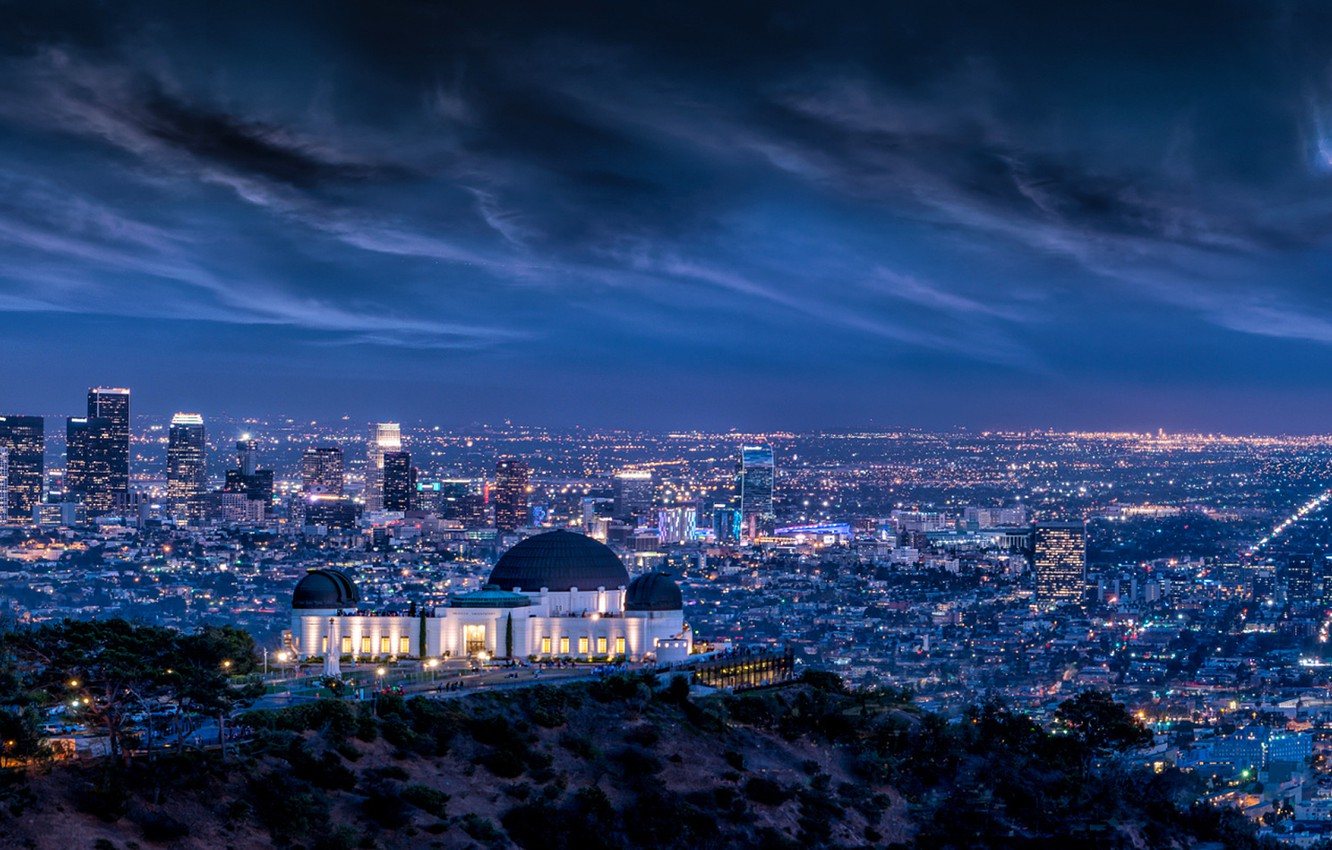 Photo wallpaper Clouds, Sky, Lightning, Lights, Night, Los Angeles, L.A., Griffith Observatory, Long, Architecture, Cityscape, Exposure