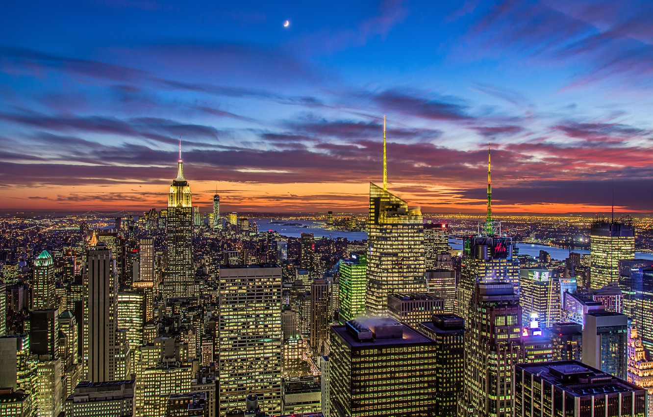 Photo wallpaper the sky, clouds, sunset, orange, the city, lights, the moon, view, building, home, New York, …